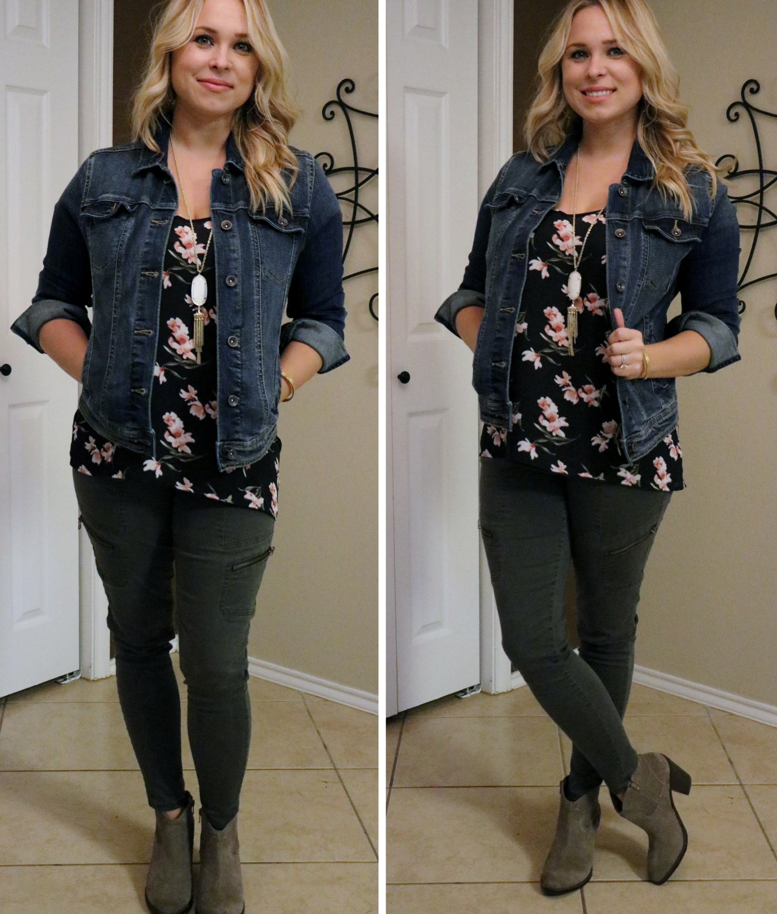 Outfit: Army Green + Floral Print