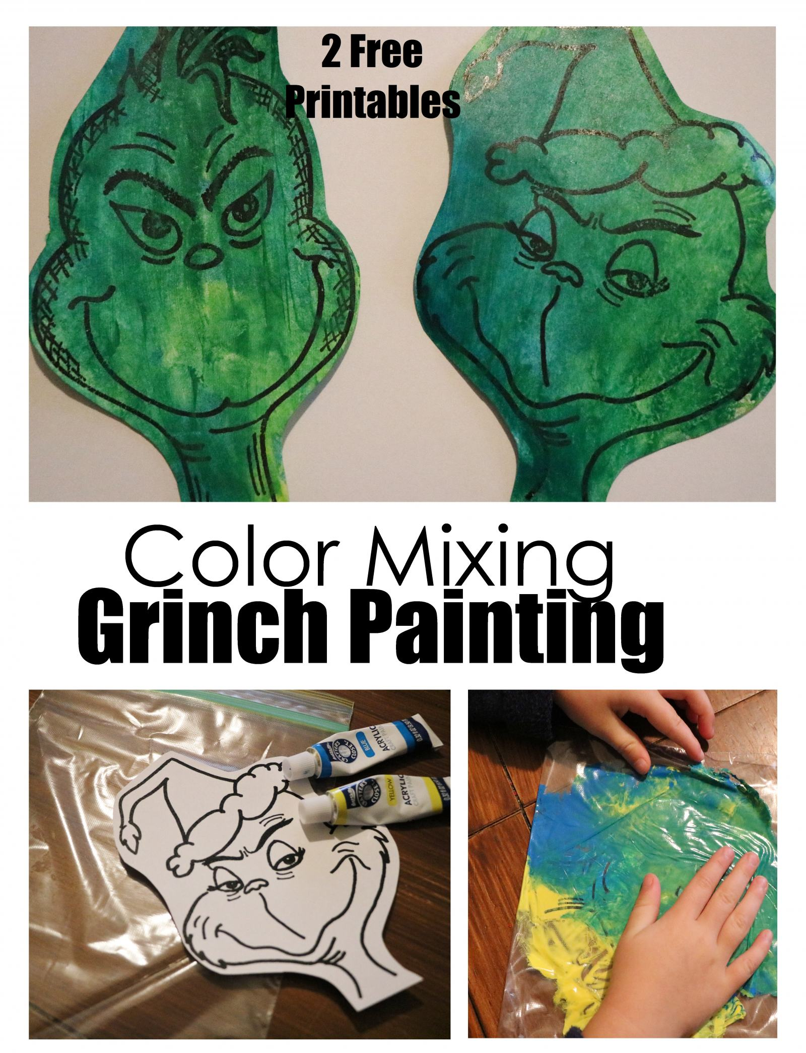 Coloring Mixing Grinch Painting